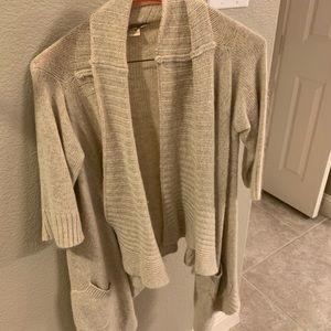 Forever21 oatmeal short sleeve cardigan sweater